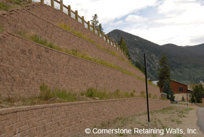 4-tiered retaining wall, Frisco, Colorado