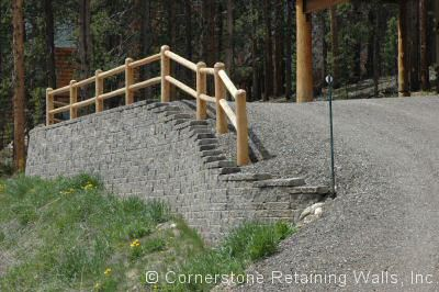 Allan Block Abbey Blend driveway retaining wall in Fraser, Colorado