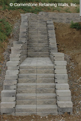 steps built with retaining wall block