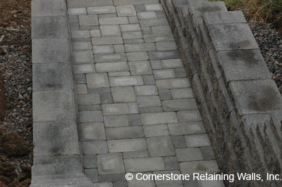 stairway landing built with pavers