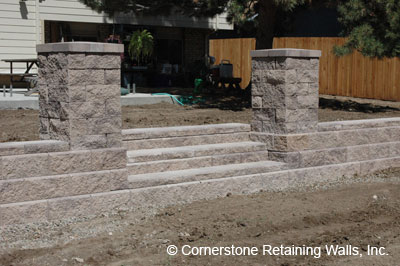 retaining wall with steps and pillars