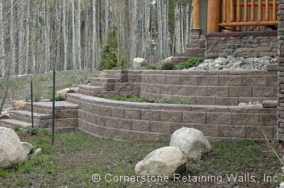Tiered Allan Block Classic Tan Blend retaining walls in Tabernash, Colorado
