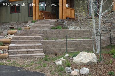 retaining wall with steps built in Tabernash, Colorado