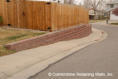 Structural retaining wall built with Allan Block Classics Red Blend