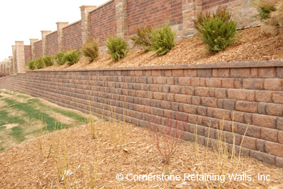 Structural retaining wall built with Pavestone Adobe Blend